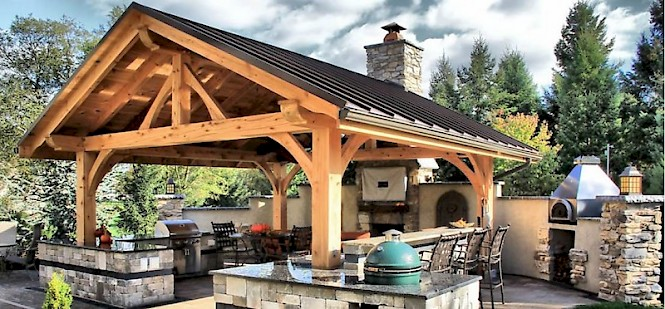 Timber frame kits harken 39 s landscape supply garden for Maine post and beam kits