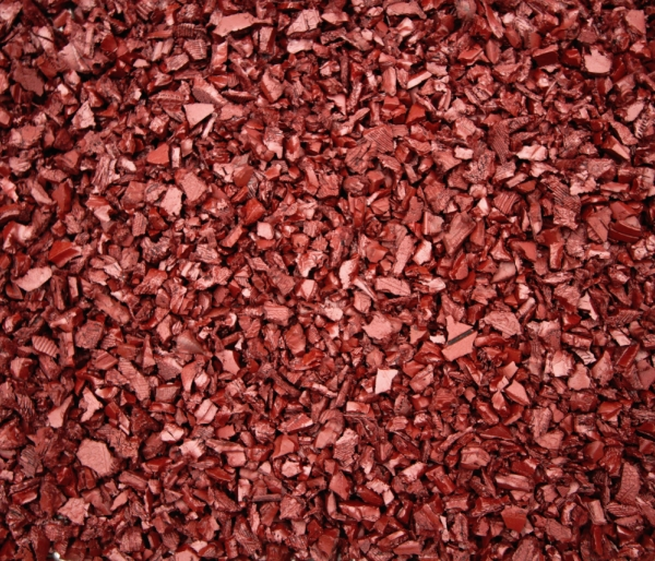 Rubber mulch red harken 39 s landscape supply garden for Red stone landscape rock